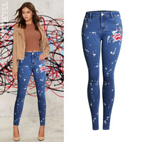 High Waist Jeans Plus Size Women Embroidery Denim Pencil Pants Full Length Skinny Slim Sexy Jeans