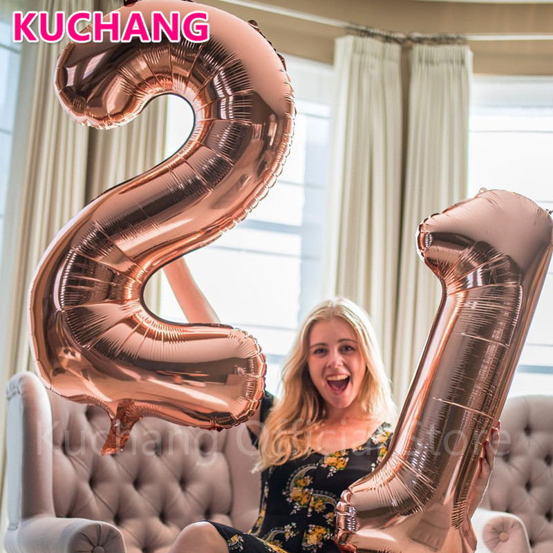 2pcs Lot 40inch Rose Gold Silver Pink Blue Number 21 Foil Helium Balloons For 21st Birthday Anniversary Party Decorations Globos In DIY
