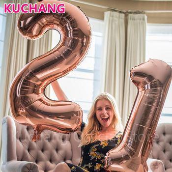2 шт./лот 40 дюймов розового золотого, серебряного, розового и синего цвета номер 21 фольги воздушные шары с гелием для 21st на день рождения вече...