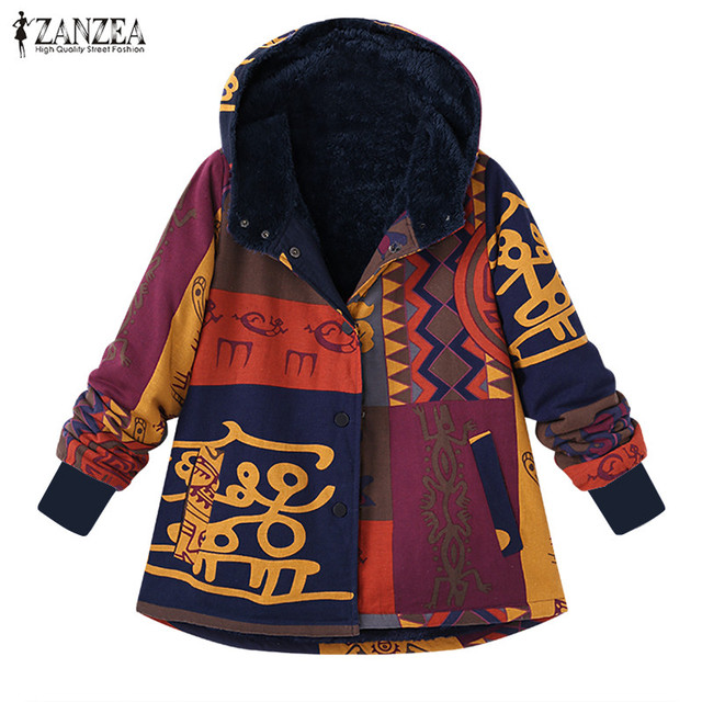 2018 Winter Plush Fluffy Coat ZANZEA Women Vintage Floral Printed Hooded  Long Sleeve Outerwear Fleece Jackets Warm Overcoats-in Basic Jackets from  Women s ... 13a8a0263419