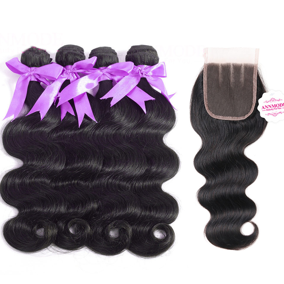 4 Bundles Brazilian Body Wave With Closure Middle Free Three Part Human Hair Bundles With Closure Non Remy Annmode