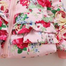 Children's wear 2018 winter girls cotton baby flower print hooded plus velvet thick coat