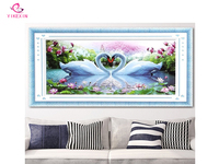 New DIY 5D Diamonds Embroidery Magnolia Two Swans Round Diamond Painting Cross Stitch Kits Diamond Mosaic