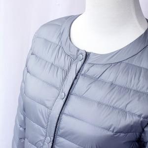 Image 2 - NewBang Chaqueta de plumón para mujer, chaqueta de plumón larga, ligera, cálida, delgada, portátil, abrigo de una botonadura