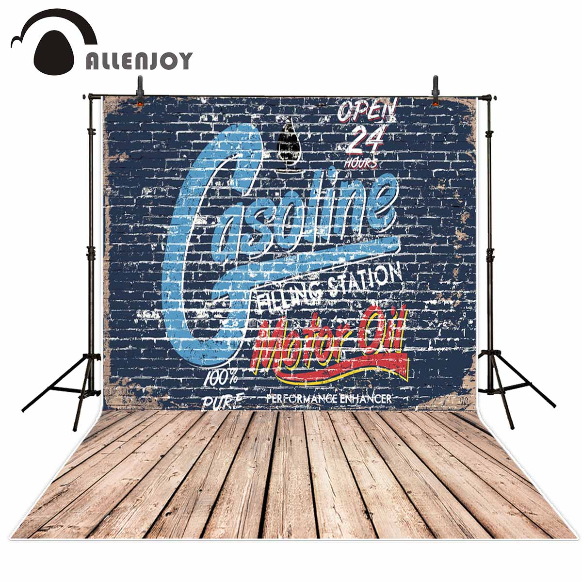 Allenjoy photography background store blue Graffiti wall theme backdrop Cool text pattern Wood floor background New Arrivals