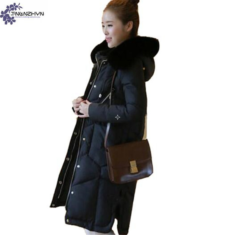 TNLNZHYN Women clothing cotton coat winter new large size fashion thicken warm hooded fur collar long female cotton coat QQ165