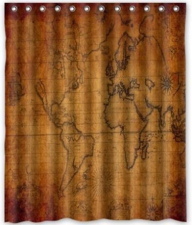 Free shipping the old world map shower curtain bath for Old world curtains and drapes