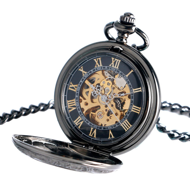 Cool Automatic Mechanical Pocket Watch Carving Steampunk Exquisite Gift Hollow Necklace Vintage Trendy Men Black Pendant Dress