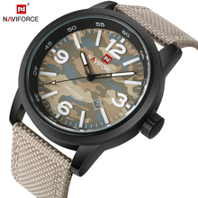 NAVIFORCE Fashion Brand Men s Quartz Watch with Canvas Leather Strap Glow Hands Date Military Sport
