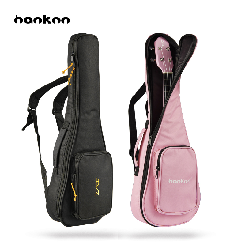 Hanknn 21 23 24 26 Inches Ukulele Bags Double Strap Sponge Carry Gig Bag Black Pink Case For Ukulele Guitar Parts & Accessories 21 soprano ukulele ukulele gig bag case 600d water resistant nylon hand strap 20 12