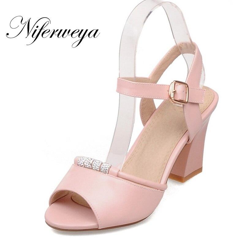 Fashion summer women pumps big size 32-43 Buckle Strap ladies shoes sexy Rhinestone decoration high heel Sandals zapatos mujer