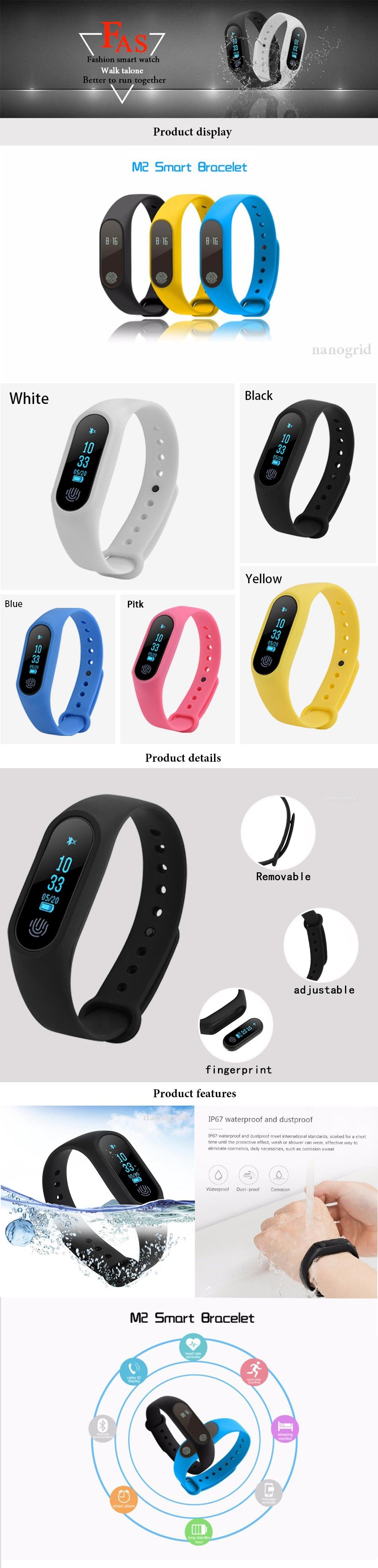 Smart Band Waterproof Band Heart Rate Monitor Smart Bracelet Fitness  Tracker Pedometer Wristband for Women Men Sport Watch