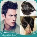 2016 Men HairCut! #1b natural straight virgin indian short hair thin skin pu base toupee for men free shipping