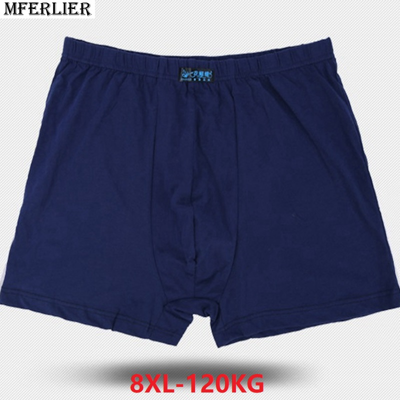 men Boxer plus big size 6XL 7XL 8XL large size Boxershorts cotton Underpants loose navy blue elasticity Underwear Breathable new