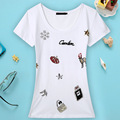 High Quality New Arrival 2016 Summer Fashion O Neck Short Sleeve Slim Personality Handmade Bead Women T Shirt