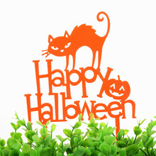1pc Cat Pumpkin Happy Halloween Acrylic Cake Flag Orange All Saints Day Toppers Party Decoration Supplies