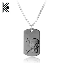 free shipping Anime One Piece Skull Pendant Necklace Dog tag necklace Monkey D. Luffy jewelry Men and women gift