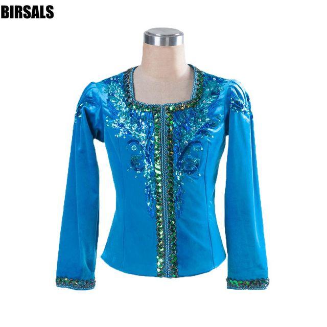 Nam màu xanh sân khấu chuyên nghiệp tops costume chàng trai nam ba lê áo người đàn ông ba lê hàng đầu áo khoác hiệu suất cạnh tranh outwear 0006