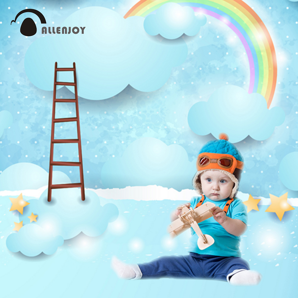 Allenjoy photography backdrops ladder rainbow cloudy baby blue stars cartoon backgrounds for photography backdrop vinyl