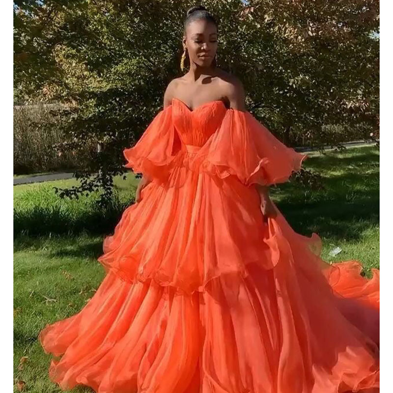 2019 New Orange Long Prom Dresses Off The Shoulder Puffy Sleeves Tiered Ruffles Formal Evening Dress Sweep Train Robe De Soiree