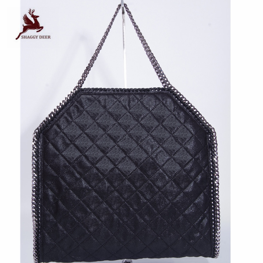 Shaggy Deer Quilted Large Capacity 3Chain PVC Shoulder Tote Heavy chain steel Fala High Quality Causal Bag mini gray shaggy deer pvc quilted chain bag with cover real picture