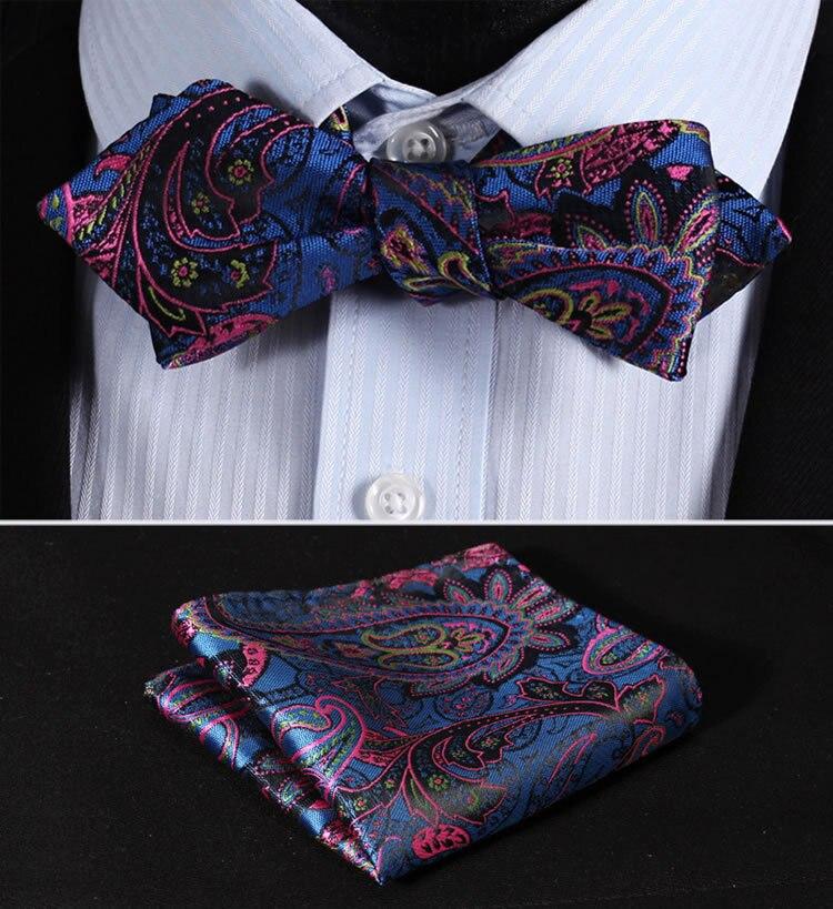 JF404B Blue Pink Paisley Floral Silk Men Diamond Point Tip Self Bow Tie Pocket Square Handkerchief Hanky Suit Set