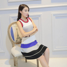 Han Guodong gates with women's dress striped knit dress sleeveless sweater vest  and backing