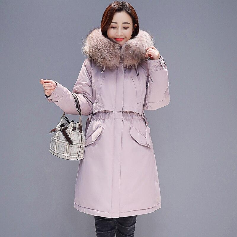 Moyen Long pink Vestes 2019 Le Capuche De Col Vers Plus Fourrure black Coton Femme Parker Veste Blue La Mince Femmes Bas Taille Manteaux Nouveau Hiver vnA8qzF