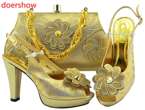 doershow Charming Italian Shoes With Matching Bags Rhinestones gold High Quality African Shoes And Bags Set for wedding !HH1-19 ladies latin dance shoes closed toe middle heel ladies ballroom dancing shoe waltz viennese waltz tango foxtrot shoes 5 5cm heel