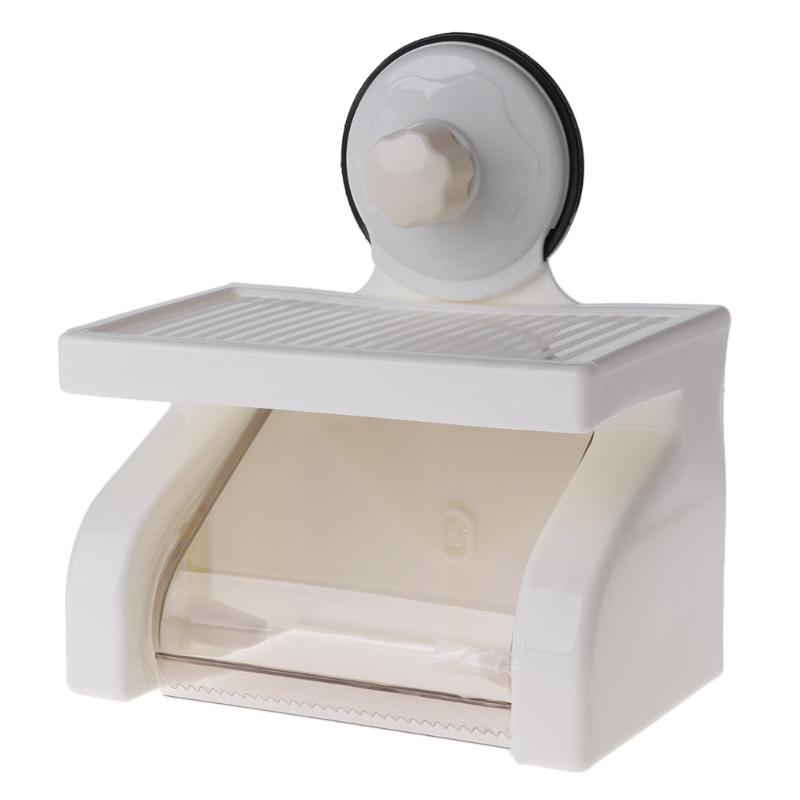 Waterproof Toilet Roll Paper Holder Powerful Wall Suction With Tray No Hurting