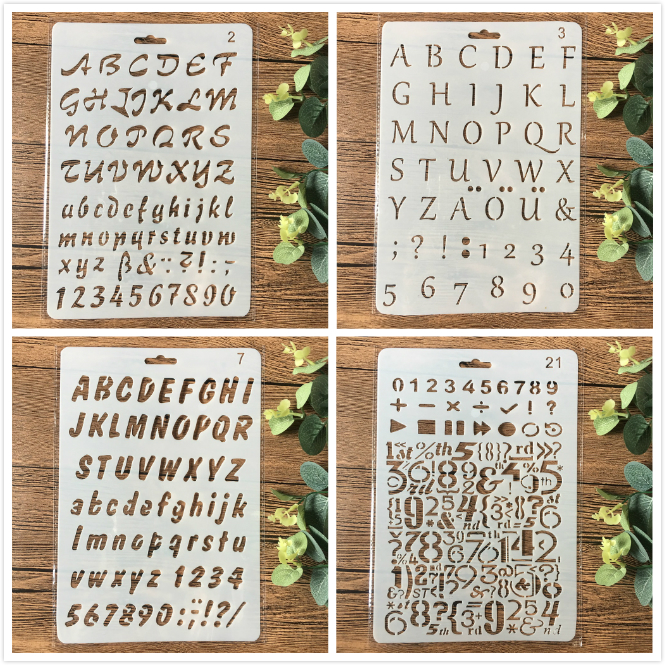 4Pcs/Set 26cm Alphabet Letters DIY Craft Layering Stencils Painting Scrapbooking Stamping Embossing Album Paper Card Template