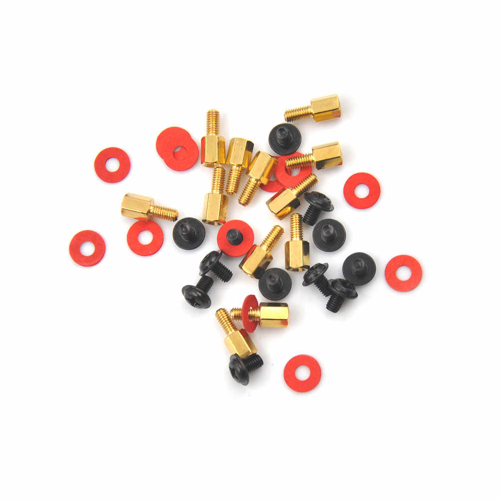 10Pcs 6.5mm 6-32-M3 Computer Golden Motherboard Riser+Silver Screws + Red Washers  High Quality
