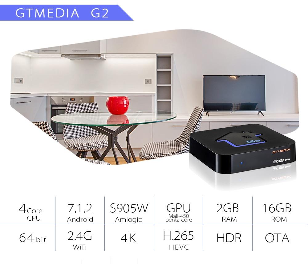GTMEDIA G2 S905W Android 7 1 Smart Box Media Player DRM Widevine L1 Italy  Germany UK IPTV netflix Built-in Wifi 4K 2K HD TV BOX