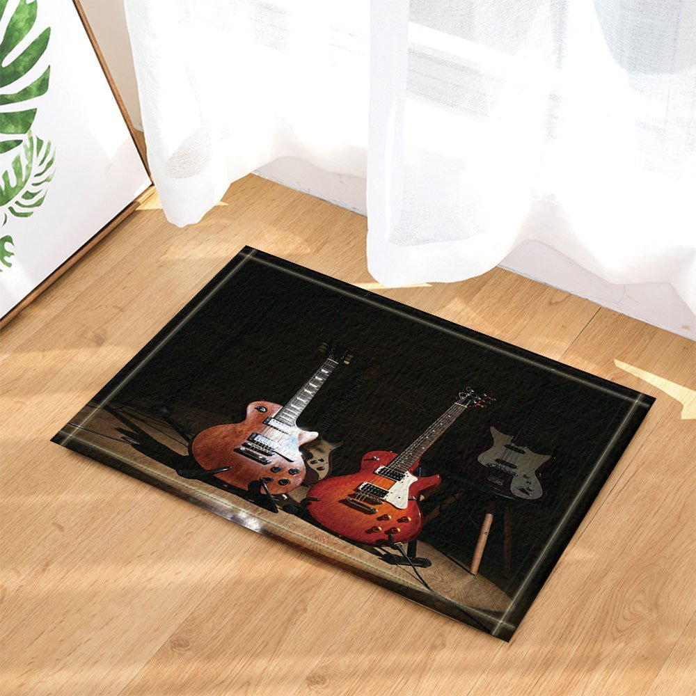 3D Digital Printing Music Decor, Electric Guitars on Lighted Wooden Floor Bath Rugs, Non-Slip Doormat Floor Entryways Indoor