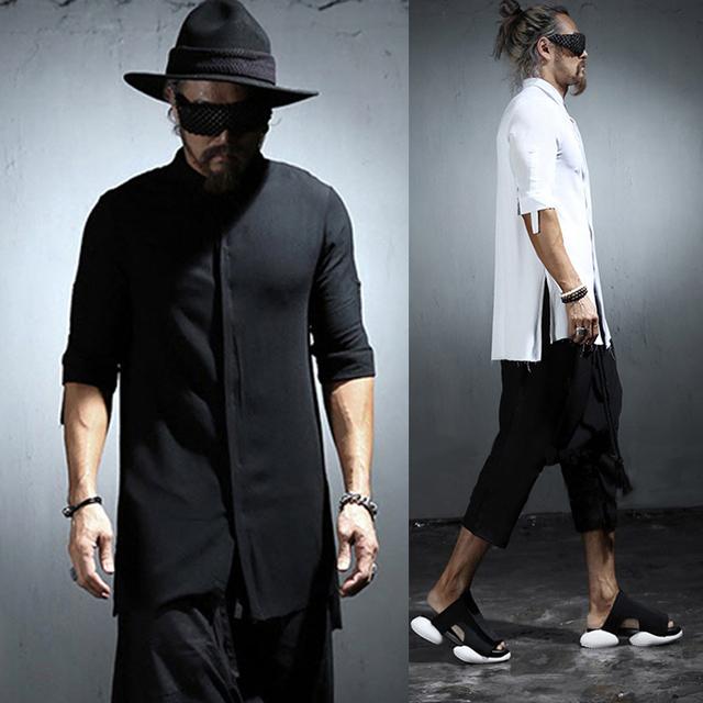 2016 verão novo fresco Mens dividir camisas de linho de manga curta voltar abrir preto branco Punk rock top