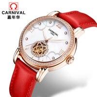 CARNIVAL Fashion Tourbillon Automatic watch women High quality Mechanical watches women MIYOTA Movement Leather band HD Luminous