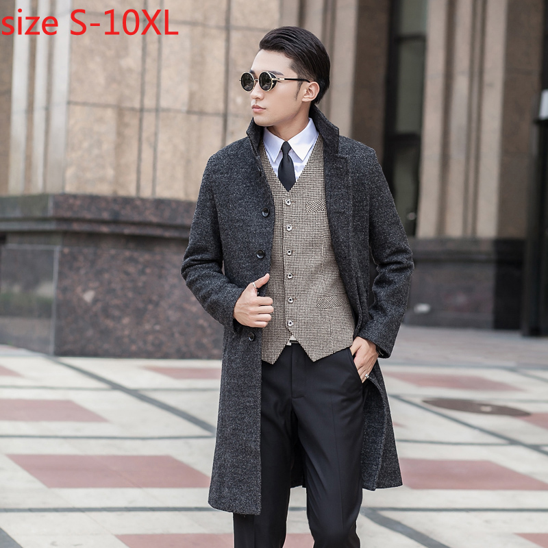 New Arrival Obese Fashion Woolen Overcoat Men's Outerwear High Quality Plus Size S M L Xl 2xl 3xl 4xl 5xl 6xl 7xl 8xl 9xl 10xl