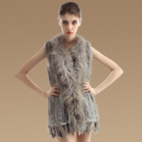 YCFUR Winter Fur Vests Women 4 Colors Knitted Natural Rabbit Fur Vest With Raccoon Fur Trims Tassels Winter Fur Gilet YC1014