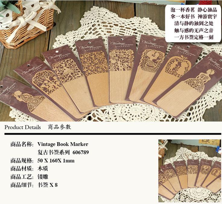 1PCS/Lot New vintage wooden bookmarks Office school supplies zakka Novelty Christmas gift