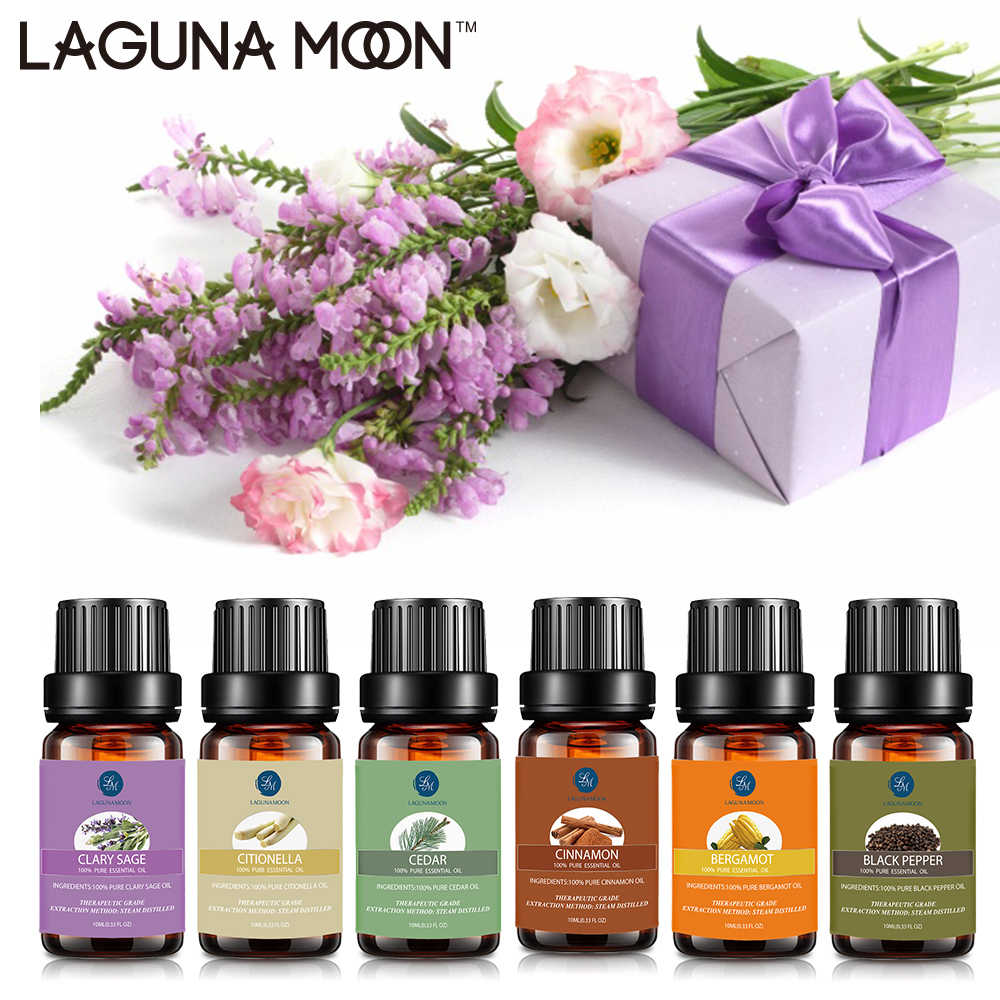 Lagunamoon Pure Essential Oils 10ML DiffuserนวดขิงRose Peppermint Lemon Rosemaryไม้จันทน์Patchouli Oil