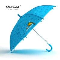 OLYCAT Marka Çocuk Şemsiye Uzun Sap Rüzgar Geçirmez Hafif Sevimli Kedi Tarzı Öğrenci Yağmur Şemsiye Renk Kalite Paraguas