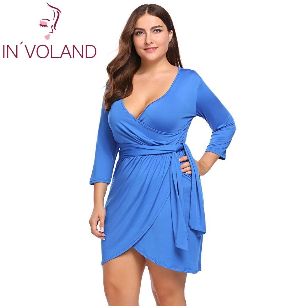 IN\'VOLAND Frauen Party-kleid Plus Größe L-4XL Sommer Sexy V ...