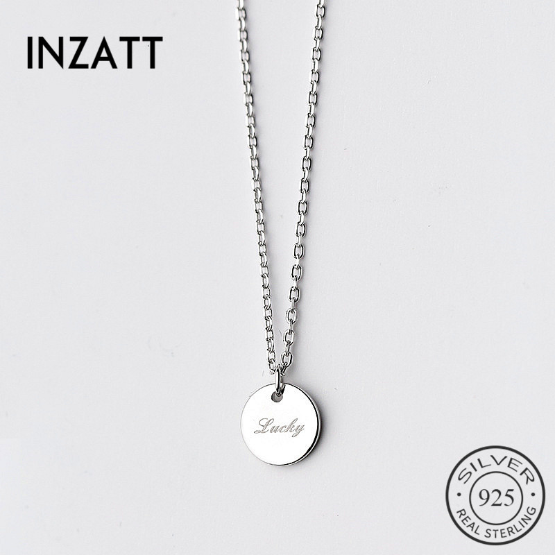 INZATT 100% Guarantee Real 925 Sterling Silver Cute Lucky Round Pendant Necklaces Noble Charming Women Fine Jewelry For Gift