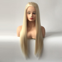 Natural Straight Platinum Blonde Princess Glueless Synthetic Lace Front Wig with Baby Hair for White Women Heat Resistant Fiber