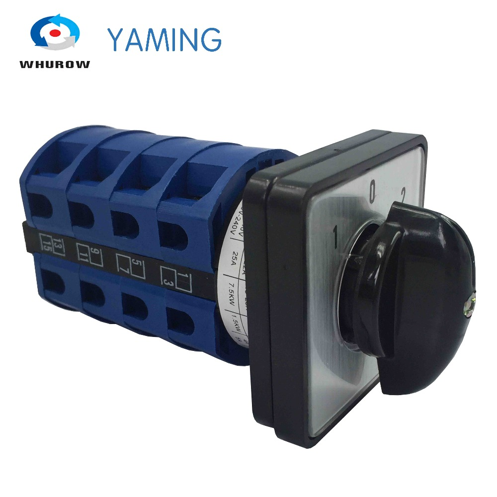 Yaming electric YMW26-25/4 Panel Mount 25A 4 poles 3 position control motor circuit Universal changeover rotary cam switch load circuit breaker switch ac ui 660v ith 100a on off 3 poles 3 phases 3no 2 position universal rotary cam changeover switch