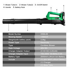 DEKO Li-ion Battery Cordless leaf Blower Cordless String Blower 20V 1500mAh Electric Air Blower Cordless Sweeper Garden Tools