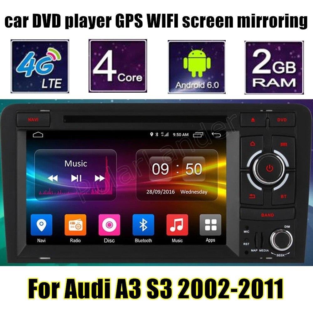Android 6.0 7 Дюймов 2 din Автомобильный DVD стерео Плеер Для udi A3 S3 2002-2011 Wi-Fi GPS Радио FM AM RDS осыпи зеркальное отображение