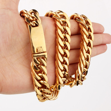 Granny Chic 15/17mm 18-36 Length Stainless Steel Curb Cuban Chain Necklace Boys Mens Polishing Gold Link jewelry