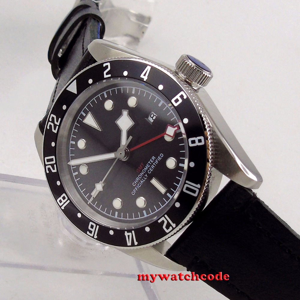 41mm corgeut black dial black bezel Sapphire Glass GMT Automatic mens watch C107 цена и фото