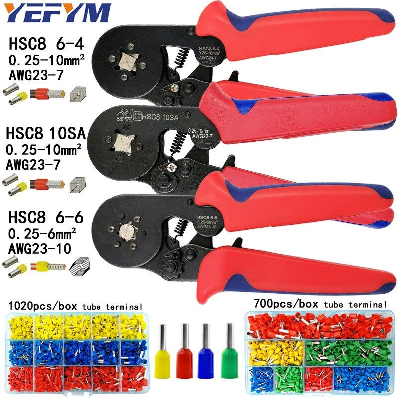 HSC8 6-4/10 s crimpen zangen 0,25-10mm2 23-7AWG HSC8 6-6 für rohr terminal box marke mini typ runde nase europäischen zangen werkzeuge